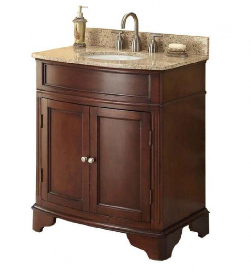 ihocon: Home Decorators Collection Terryn 31 in. W x 35 in. H x 20 in. D Vanity in Cherry with Granite Vanity Top 浴室洗手枱