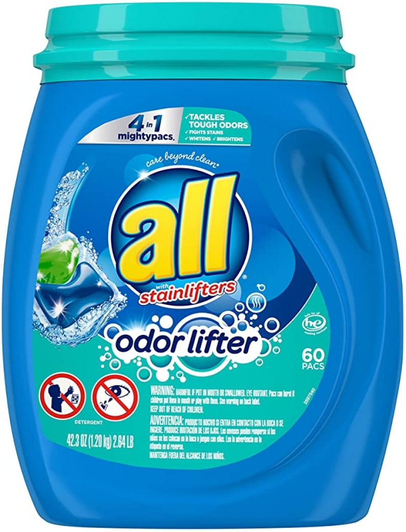 ihocon: All Mighty Pacs Laundry Detergent 4 In 1 With Odor Lifter, Tub, 60 Count 洗衣膠囊