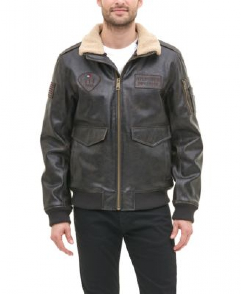ihocon: Tommy Hilfiger Men's Top Gun Faux Leather Aviator Bomber Jacket, Created for Macy's  男士仿皮飛行員夾克