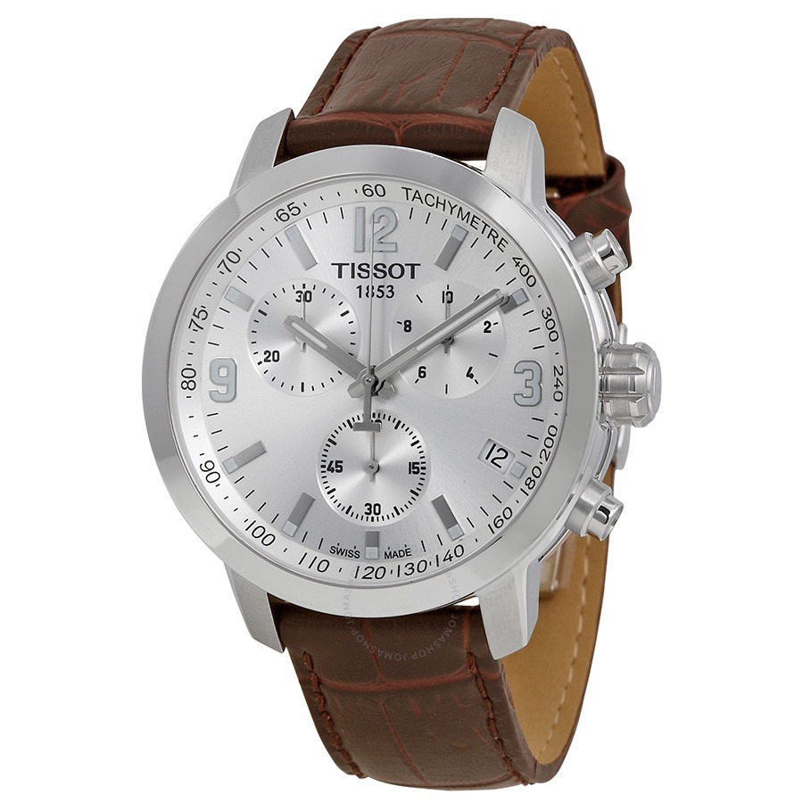 ihocon: Tissot PRC 200 Chronograph Silver Dial Brown Leather Men's Watch 天梭計時男錶