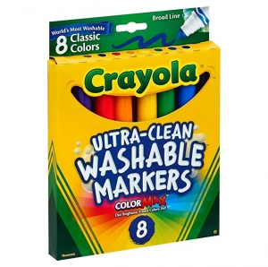 ihocon: Crayola Broad Point Washable Markers, 8 Markers, Classic Colors Pack of 6 可洗彩色筆8枝裝, 6盒