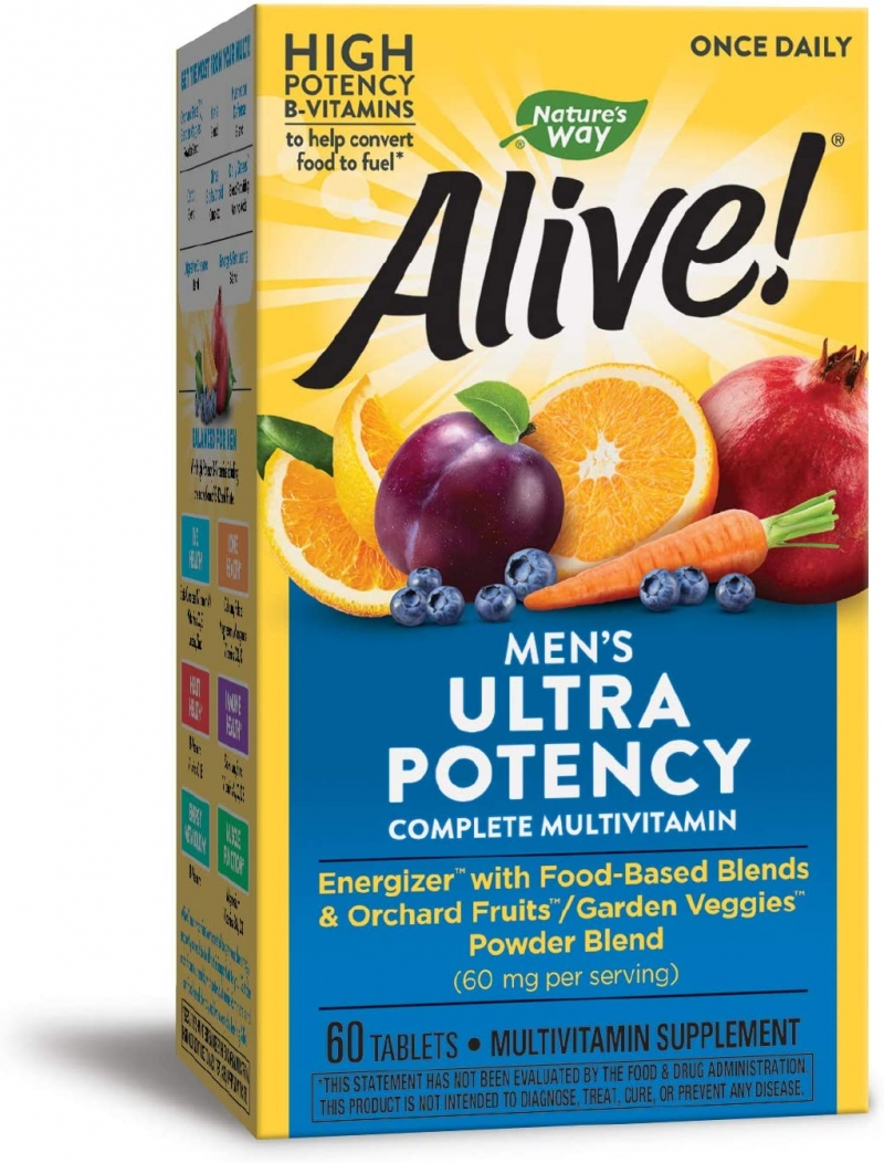 ihocon: Nature's Way Alive! Once Daily Men's Multivitamin, Ultra Potency, Food-Based Blends (291mg per serving), 60 Tablets 男士綜合維他命
