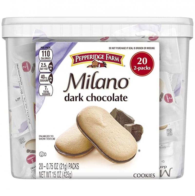ihocon: Pepperidge Farm Milano Cookies, Dark Chocolate, 20 Packs, 2 Cookies per Pack   巧克力夾心餅乾