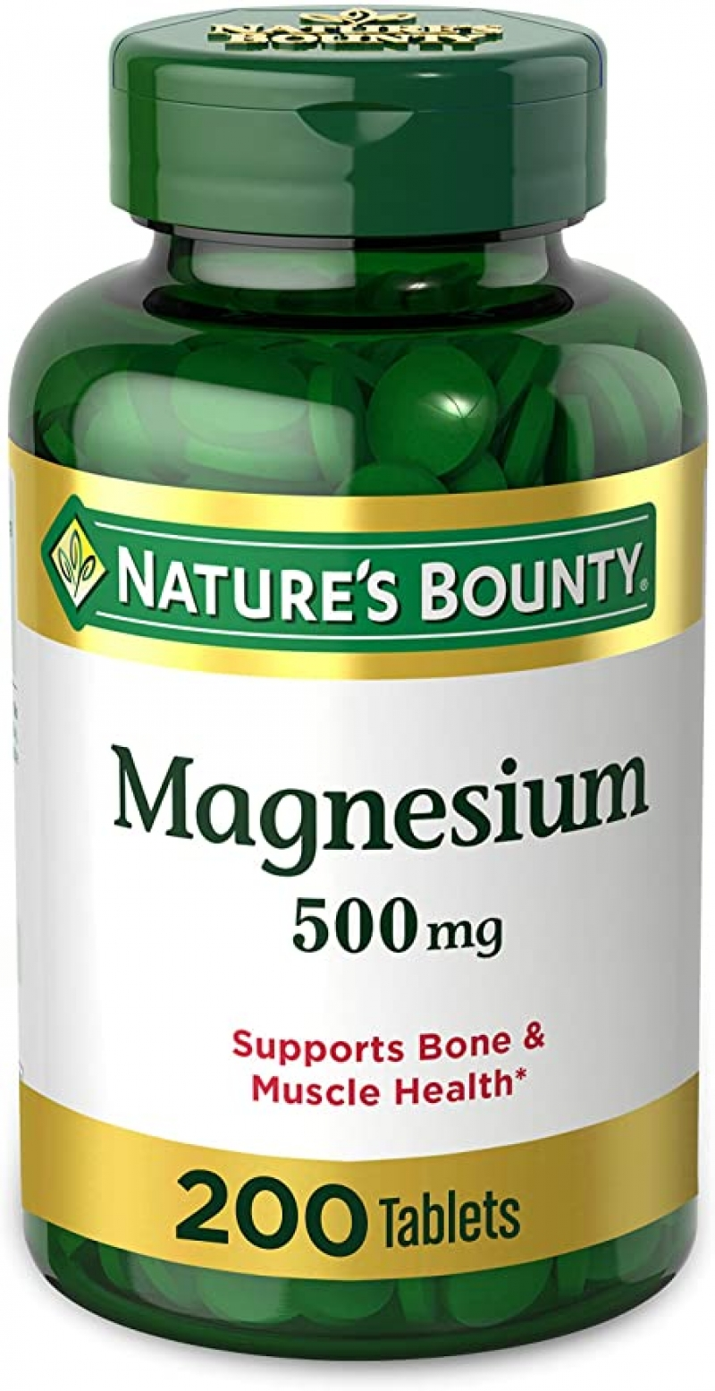 ihocon: Nature's Bounty Magnesium 500mg Tablets for Bone and Muscle Health, 200 Tablets 鎂(促進骨骼/肌肉健康)