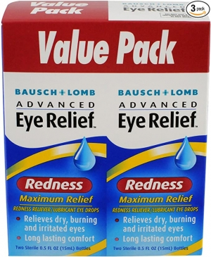 ihocon: Bausch & Lomb Advanced Eye Relief Maximum Redness Reliever, 0.5 Ounce Bottle Twinpack (Pack of 3) 博士倫紅眼緩解眼藥水
