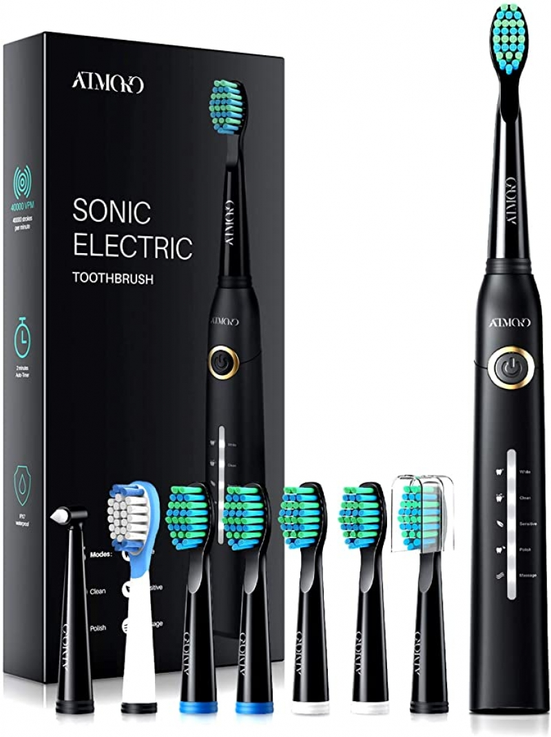 ihocon: ATMOKO Electric Toothbrush with 8 Duponts Brush Heads充電式電動牙刷