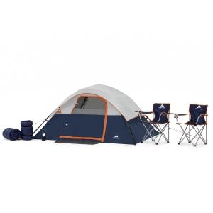 ihocon: Ozark Trail 6 Piece Camping Combo 露營用品(4人帳,2折疊椅,2睡袋,營燈)