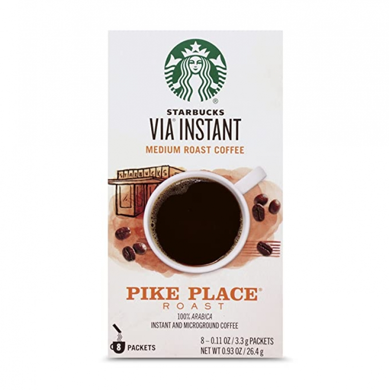 ihocon: Starbucks VIA Instant Pike Place Roast Medium Roast Coffee, 8 Count 星巴克即溶咖啡