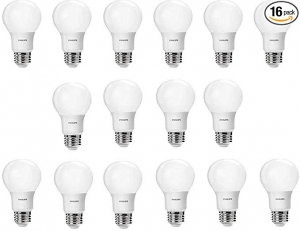 ihocon: Philips LED Non-Dimmable A19 Frosted Light Bulb: 800-Lumen, 5000-Kelvin, 8-Watt (60-Watt Equivalent), E26 Base. 16-Pack 飛利浦LED燈泡