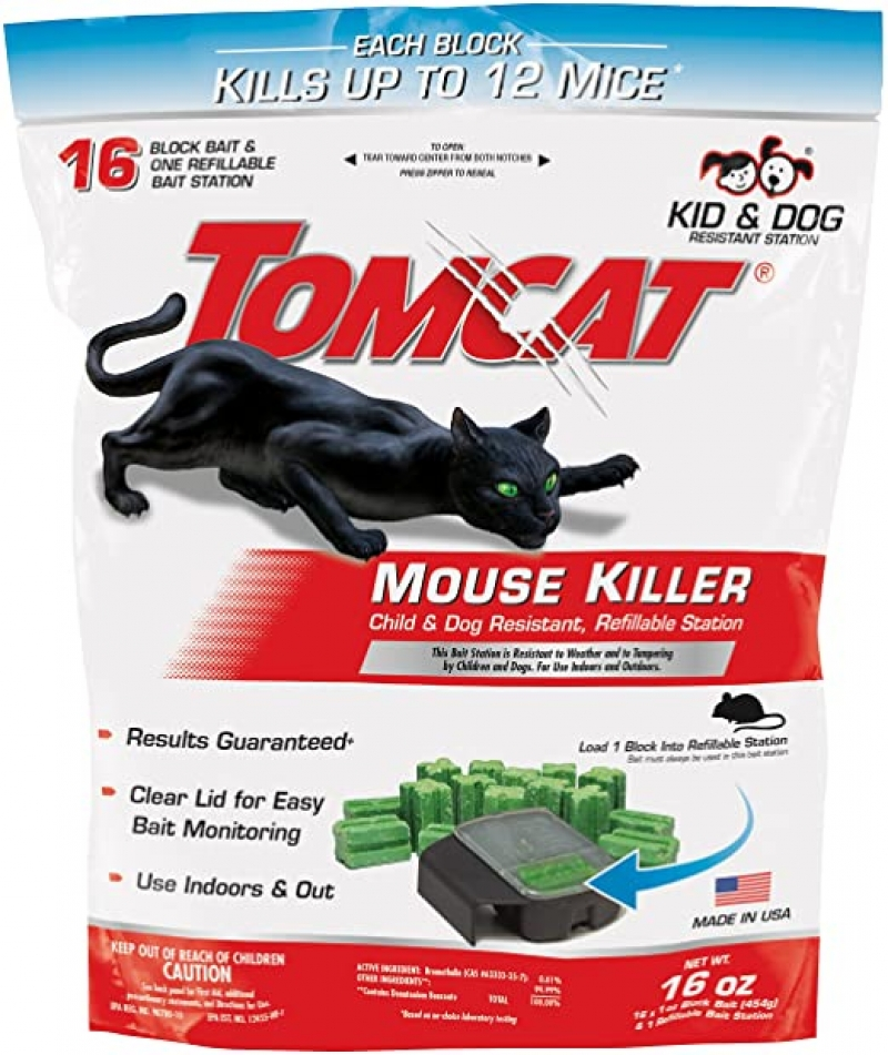 ihocon: Tomcat Mouse Killer Refillable Station for Indoor/Outdoor Use - Child and Dog Resistant, 1 Station with 16 Baits (Bag) 老鼠藥, 包含1個盒子及16個誘餌