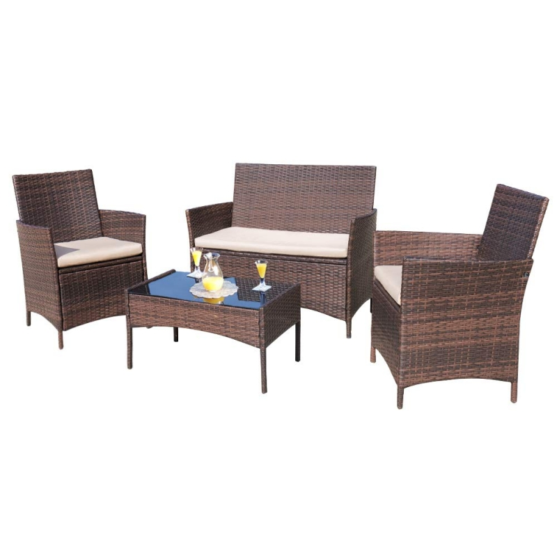 ihocon: Walnew 4 PCS Outdoor Patio Conversation Furniture Sets with Cushioned Tempered Glass 室外傢具
