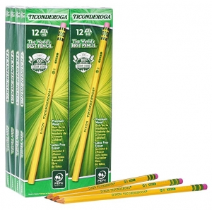 ihocon: Ticonderoga Pencils, Wood-Cased, Graphite #2 HB Soft, Yellow, 96-Pack (13872) 鉛筆
