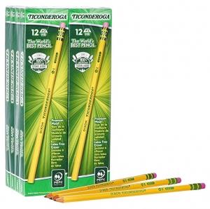 ihocon: Ticonderoga Pencils, Wood-Cased, Graphite #2 HB Soft, Yellow, 96-Pack (13872) 鉛筆