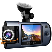 ihocon: Trekpow 1080P Car DVR Camera for Cars with 180° Rotatable Lens, Full HD 2 LCD Screen, 170° Wide Angle, Night Vision, WDR, G-Sensor, Loop Recording and Motion Detection行車記錄器