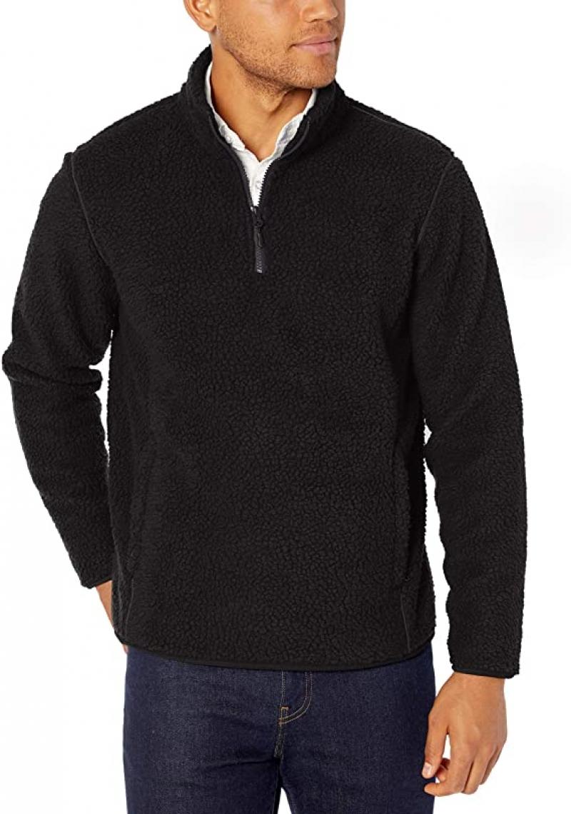 ihocon: Amazon Essentials Men's Sherpa Fleece Quarter-Zip Pullover 男士長袖衫
