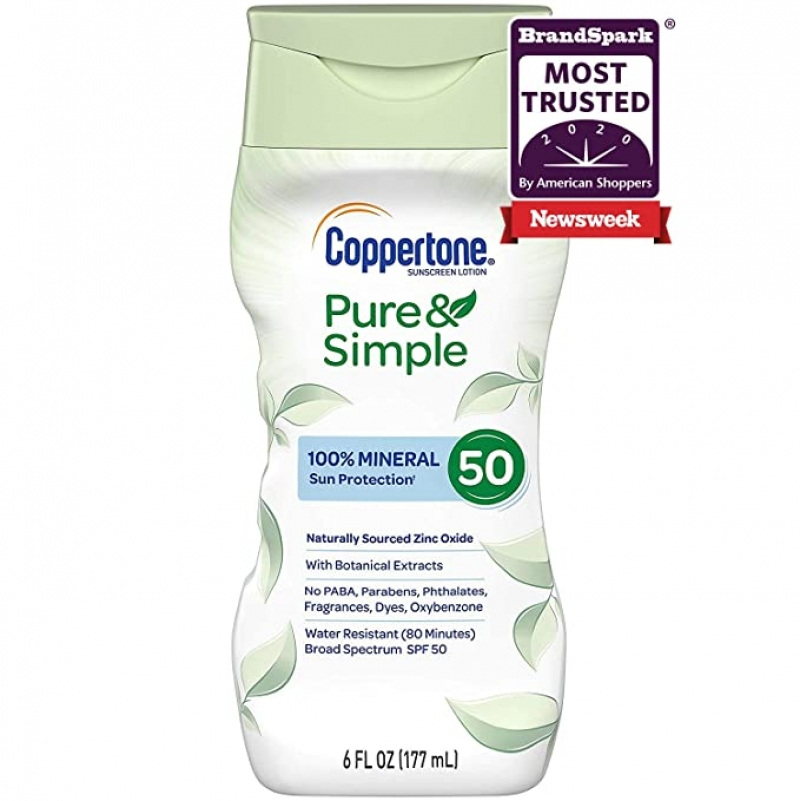 ihocon: Coppertone Pure & Simple SPF 50 Sunscreen Lotion,Broad Spectrum UVA/UVB Protection, 6 Ounce  天然礦物防曬乳