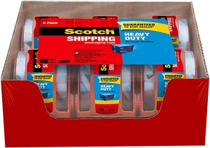 ihocon: Scotch Tape Heavy Duty Shipping Packaging Tape, 1.88 Inches x 800 Inches, 6-Count 打包膠帶含膠台