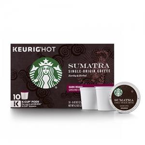 ihocon: Starbucks Sumatra Dark Roast Single Cup Coffee for Keurig Brewers, 6 Boxes of 10 (60 Total K-Cup pods)  星巴克蘇門答臘黑咖啡-膠囊咖啡