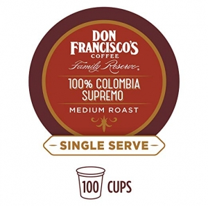 ihocon: Don Francisco's 100% Colombia Supremo (100 Pods) Medium Roast, Single Cup Coffee Pods, Compatible with Keurig K-Cup Machines 咖啡膠囊