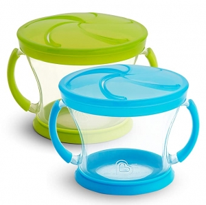 ihocon: Munchkin Snack Catcher, 2 Pack, Blue/Green 兒童點心杯