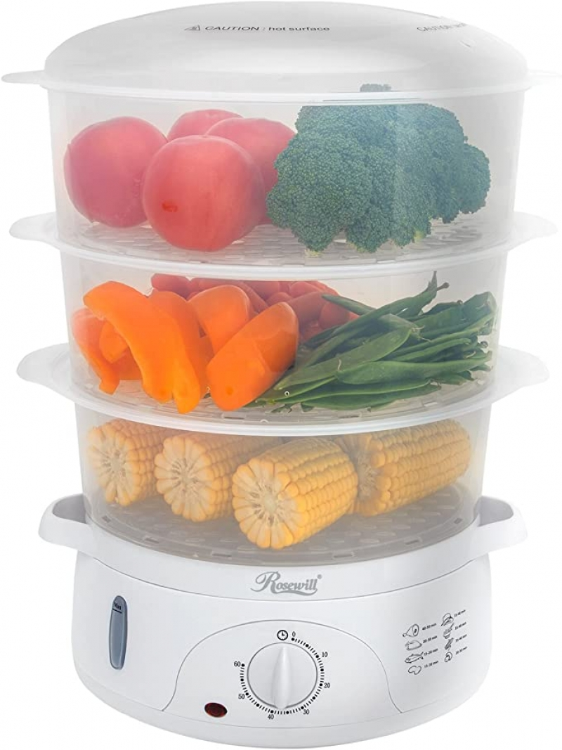 ihocon: Rosewill BPA-Free, Quart (9L), 3-Tier Stackable Electric Timer Food 三層電蒸鍋
