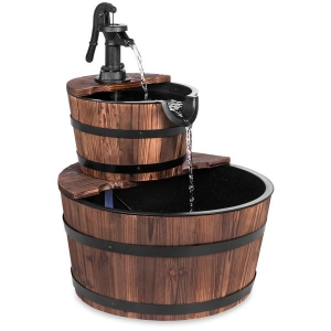 ihocon: Best Choice Product Wooden Barrel 2-Tier Water Fountain w/ Pump 雙層木桶噴泉