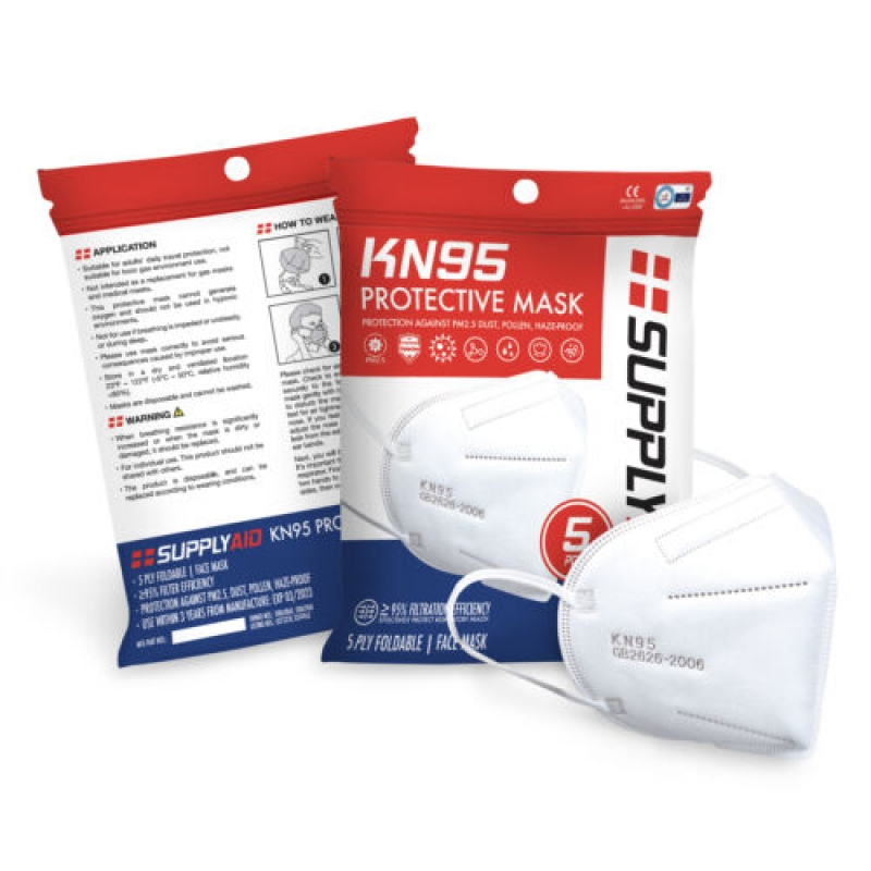 ihocon: SUPPLYAID KN95 Protective Face Mask CE/ECM Certified   GB2626 Standard   5-Pack 口罩