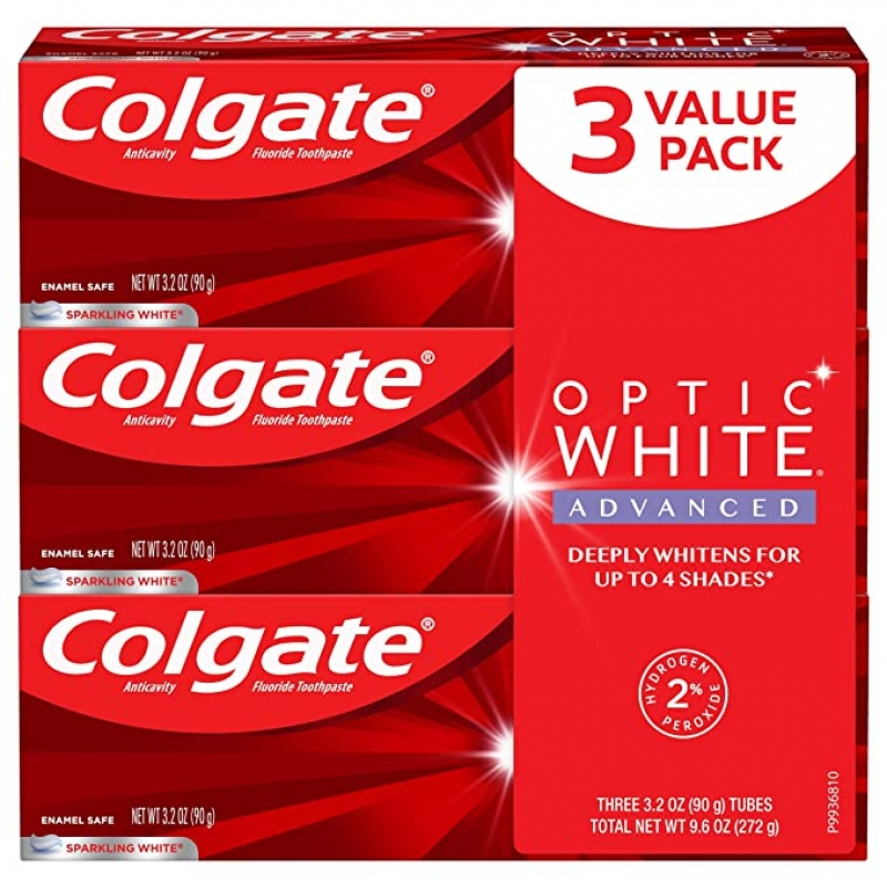 ihocon: Colgate Optic White Advanced Teeth Whitening Toothpaste with Fluoride, 2% Hydrogen Peroxide, Sparkling White - 3.2 Ounce (3 Pack) 高露潔美白牙膏