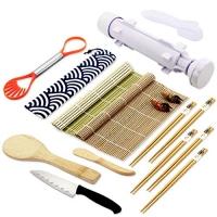 ihocon: All In One Sushi Roll Bazooka Maker with 2 Bamboo Mats, 5 Pairs Bamboo Chopsticks, Sushi Paddle, Spreader, Sushi Knife, Chopstick Holder, Handle Onigiri Mold and Avocado Slicer 壽司製作組