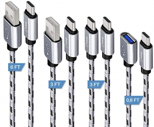 ihocon: Ottrip USB Type C Nylon Braided Fast Charger Cables (0.6ft, 3ft, 3ft, 6ft) 充電線4條