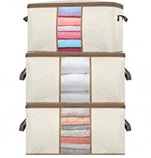 ihocon: SEEHONOR Large Capacity Clothes Bag, Closet Storage Bag Organizer, 3 Pack衣物收納袋