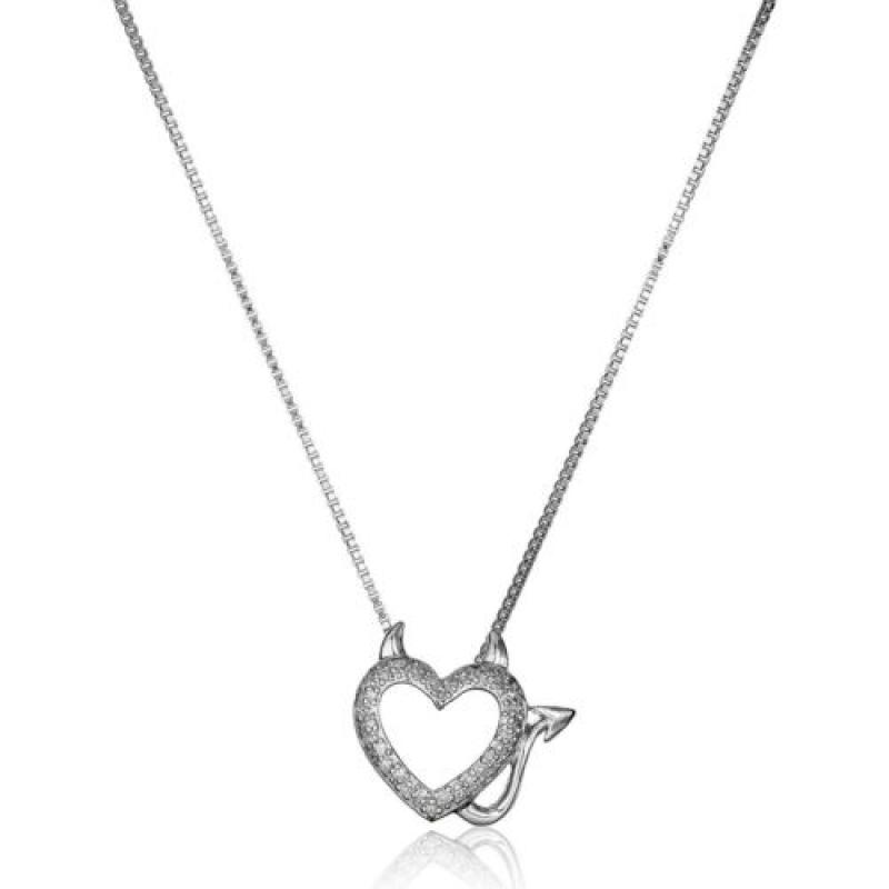 ihocon: 1/10 ct Diamond Devil Heart Pendant in Sterling Silver, 18 純銀 1/10克拉鑽石魔鬼心形項鍊