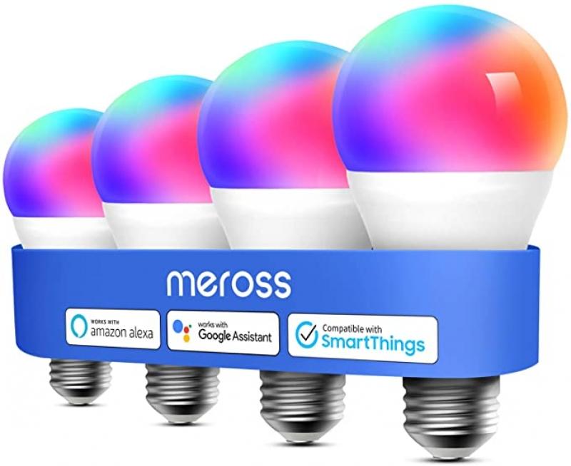 ihocon: Meross Smart WiFi LED Light Bulb, Works with Alexa, Google Home, 4-Pack彩色智能燈泡
