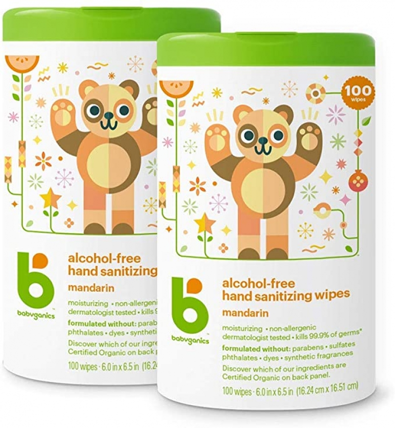ihocon: Babyganics Alcohol-Free Hand Sanitizer Wipes, Mandarin, 100 ct, 2 Pack 無酒精手部消毒濕巾