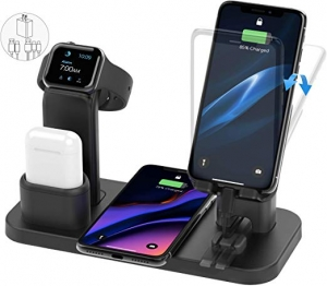 ihocon: EREECOO 4 in 1 Wireless Charging Station Dock Compatible with iPhone 11/11pro/Xr/Xs/X/Max/8/8Plus/7/6/6s/5 Apple Watch5/4/3 AirPods無線充電座