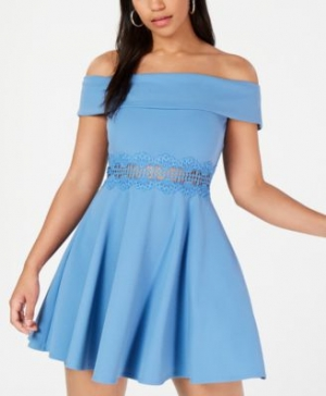 ihocon: B Darlin Juniors' Off-The-Shoulder Crochet Dress   露肩洋裝
