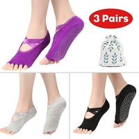 ihocon: UMODE Non Slip Yoga Socks for Women, Size 5.5-11 無趾防滑瑜珈襪 3雙