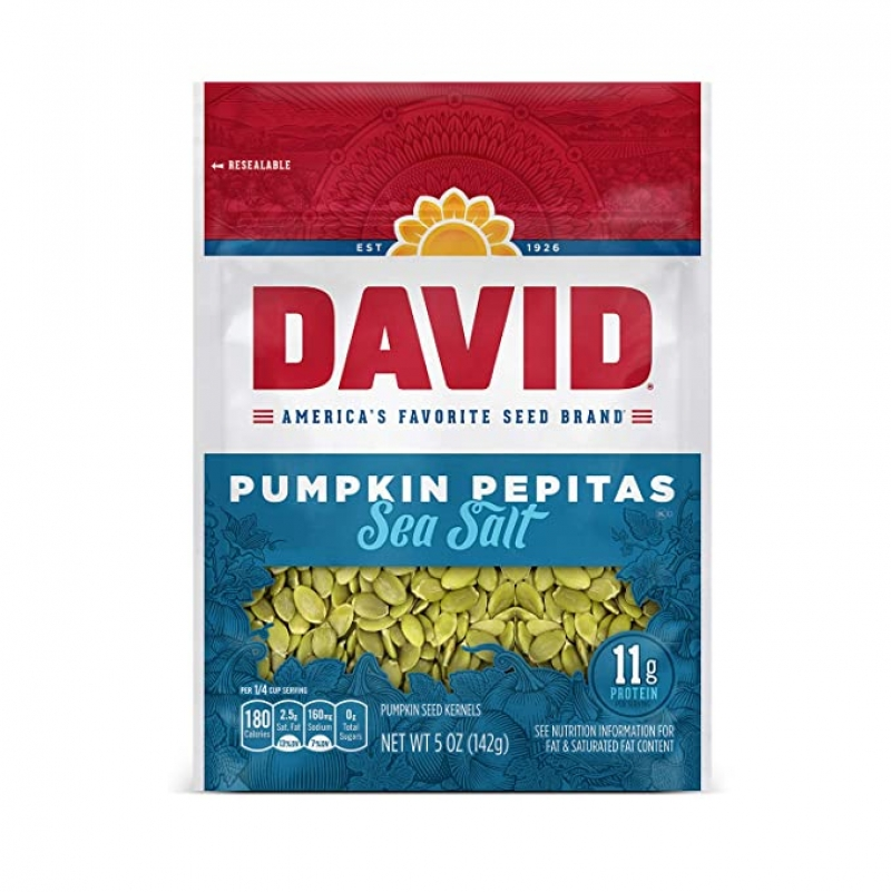 ihocon: DAVID SEEDS Sea Salt Pumpkin Pepitas Seeds 5-oz. Resealable Bag (Pack of 8)  海鹽南瓜籽
