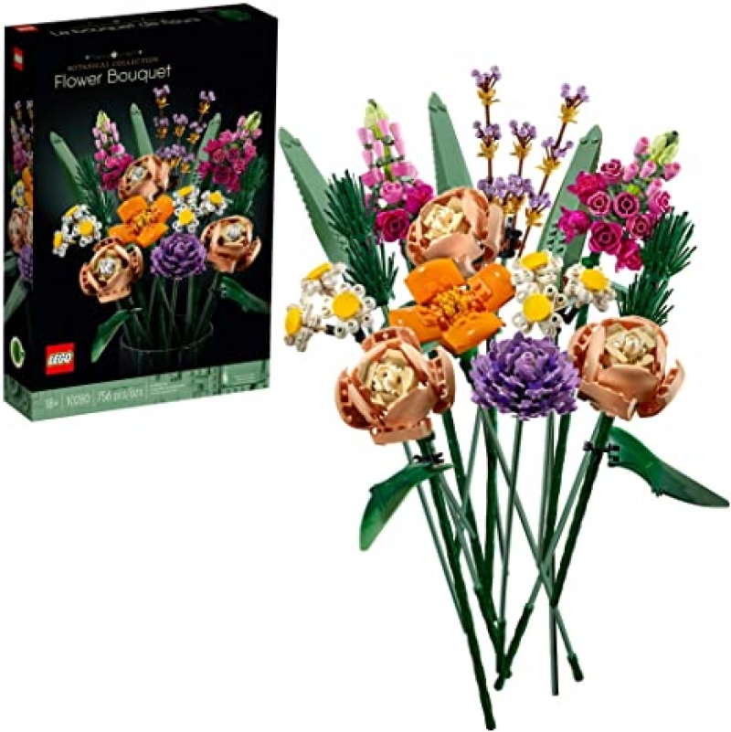 ihocon: [2021新款]Flower Bouquet 10280 Building Kit; A Unique Flower Bouquet and Creative Project for Adults, New 2021 (756 Pieces) 樂高花束積木