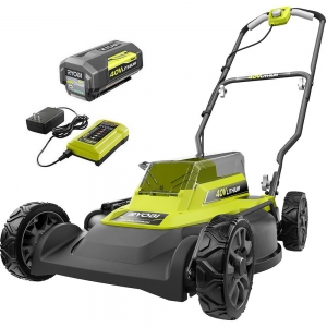 ihocon: RYOBI 18 in. 40-Volt 2-in-1 Lithium-Ion Cordless Battery Walk Behind Push Mower 4.0 Ah Battery/Charger Included  無線除草機, 含電池/充電器