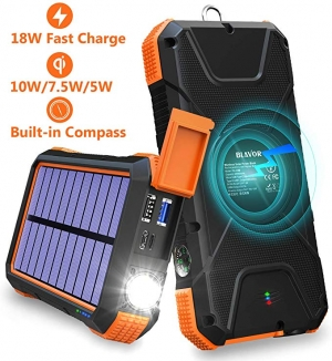 ihocon: BLAVOR 20000mAh Solar Charger 18W Power Bank with Flashlight & Compass (Orange) 太陽能行動電源/充電寶,含手電筒及指南針