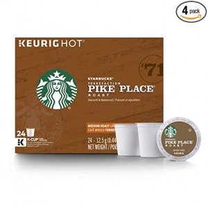 ihocon: Starbucks Pike Place Roast Medium Roast Single Cup Coffee for Keurig Brewers, 4 Boxes of 24 咖啡膠囊