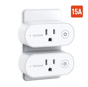 ihocon: [不在家也能遙控電器] T Teckin Smart Plug 15A WiFi Outlet Works with Alexa Echo, Google Home & Smart Life App, 2 Pack  智能插座