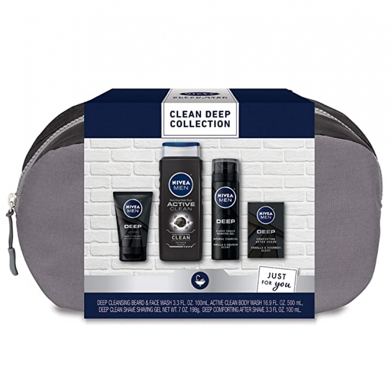 ihocon: Nivea Men Clean Deep Skin Care Collection for Men, 4 Piece Gift Set 妮維雅男士4件深層護膚禮品組