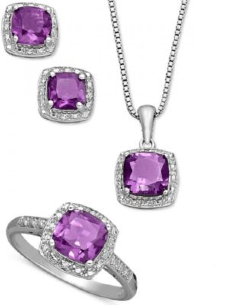 純銀紫水晶項鍊,耳環和戒指套裝 (總重4-1/3克拉) $75(原價$300)