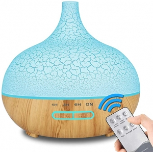 ihocon: Enhoota 400ML Wood Grain Electric Diffusers with 4 Timer and Cool Mist from 7色變換超音波精油換香機