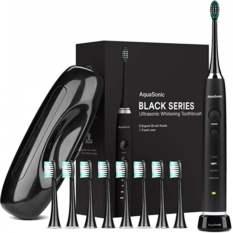 ihocon: AquaSonic Black Series Ultra Whitening Toothbrush - 8 DuPont Brush Heads & Travel Case Included 電動牙刷, 含替換刷頭及旅行便攜盒