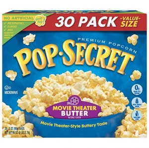 ihocon: Pop Secret Popcorn, Movie Theater Butter, 3 Ounce Microwave Bags, 30 Count   ,微波爆米花