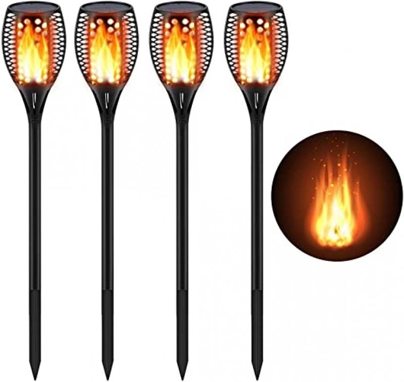 ihocon: CINOTON Outdoor Solar Lights Torch Light with Flickering Flames (4 Packs) 太陽能火炬燈