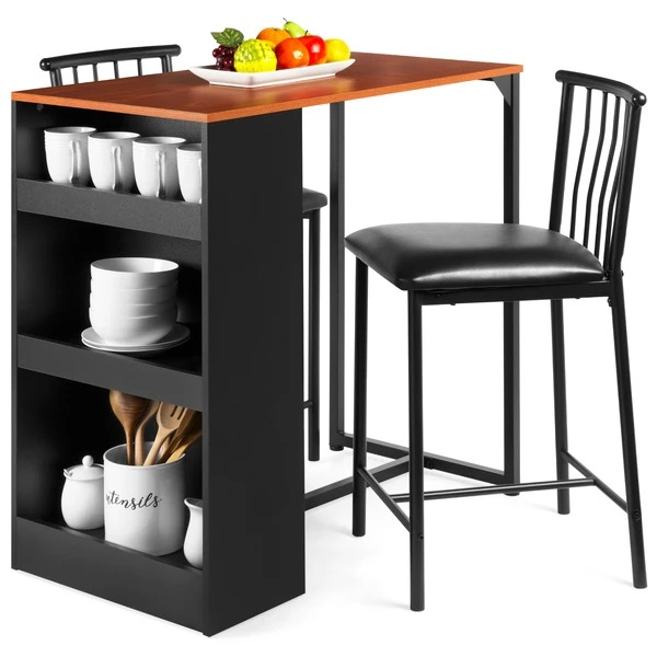 ihocon: Best Choice Products 3-Piece Counter Height Kitchen Dining Table Set w/ Storage Shelves 高腳廚房儲物餐桌椅